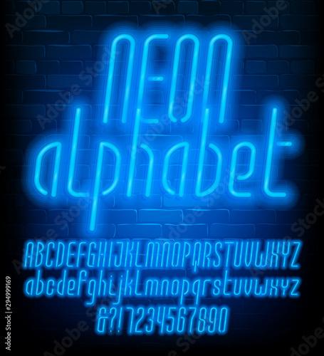 Valokuvatapetti Neon alphabet font
