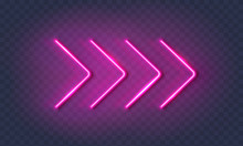 Neon Arrow Lamp Wall Sign Isol...