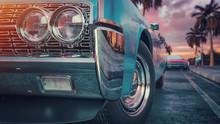 Blue Vintage Car.