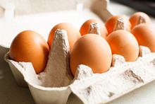 The Brown Eggs In Egg Box.