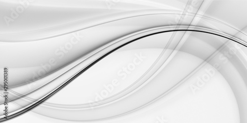 Photo sur Toile Abstract wave Fractal abstraction for design. Gray waves on a white background