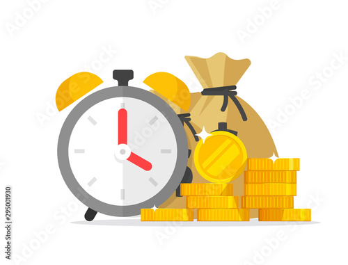Time and money savings vector illustration, flat cartoon timer or alarm clock with lots of cash, financial waiting or transaction payment deadline, time save success - 295001930