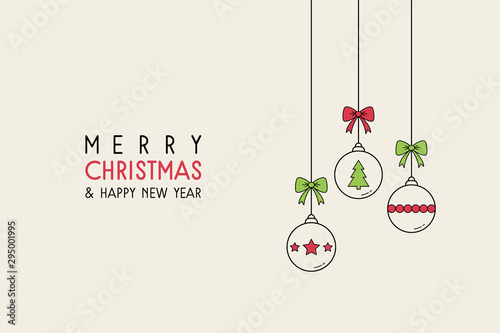 Fototapeta Xmas background with ornaments. Hanging Christmas balls with wishes. Vector obraz