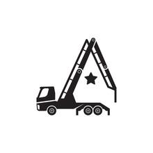 Concrete Pump Truck Silhouettes Logo. Looks Like A Letter A.