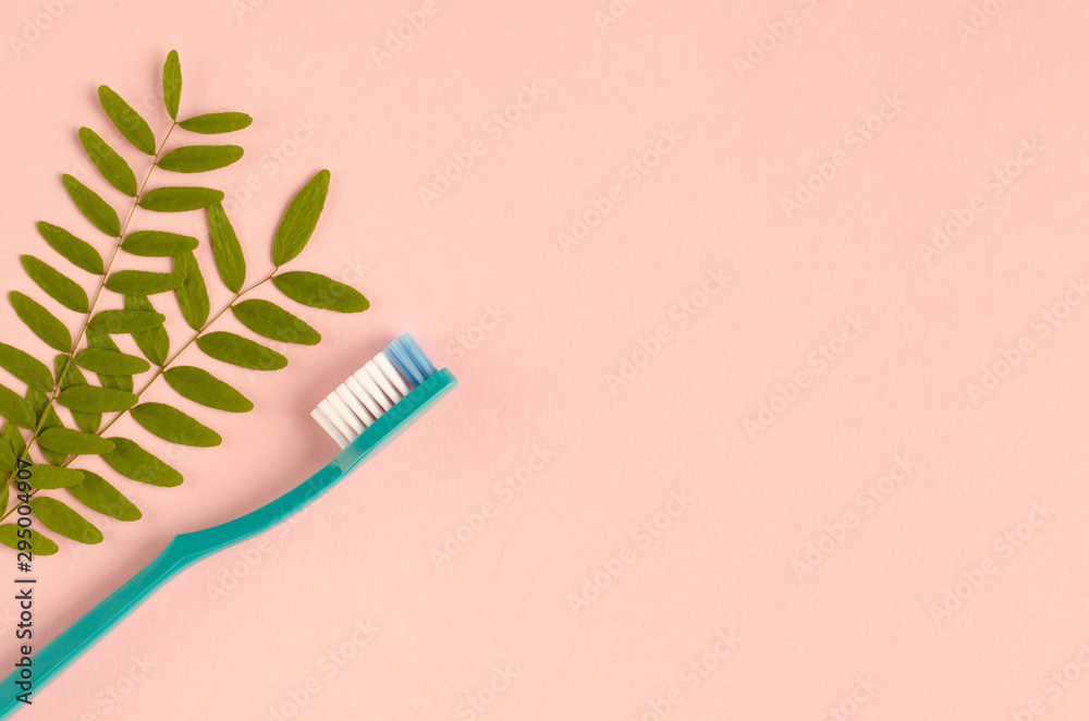 Fototapeta Colored toothbrushes composition on pink background. Flat lay.