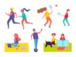 Run and playing tennis isolated icons. Running couple, man on hoverboard scooter. Mother and child on blanket sitting with pet. Freelance woman vector