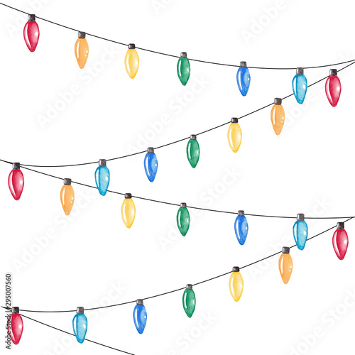 Fototapeta Watercolor Christmas lights. Colorful festive garlands. Hand drawn illustration for cards, posters, prints and other design. obraz na płótnie