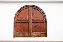 Old Wooden Massive Door On Building.