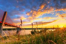 Sunset At Vistula River And Ca...
