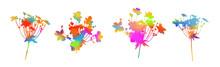 Set Of Multicolored Flower Heads. Vector Illustration