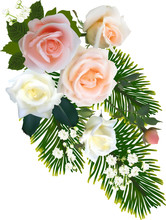 Bunch With Five Roses And Gree...