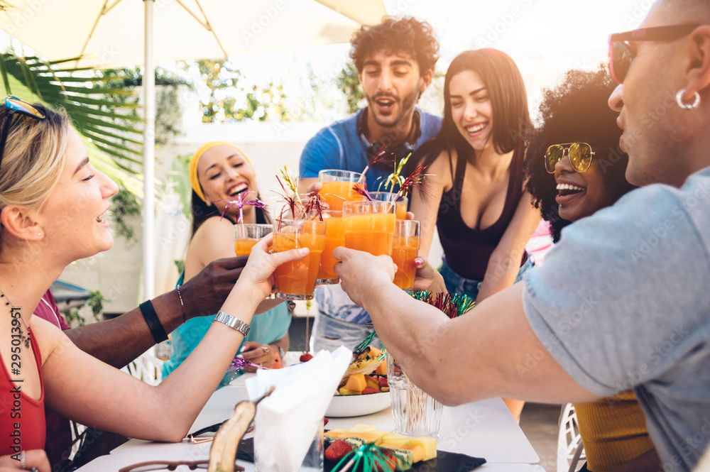Fototapety, obrazy: Young multiracial friends toasting beer at barbecue garden party - Young cheerful people cheering with cocktails on summer time