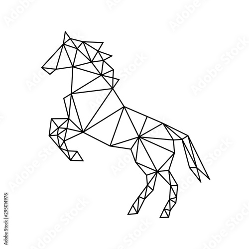 Fotografía  Industrial black geometric contour of a wild galloping horse on a white background