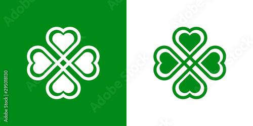 Fotografiet Logotipo con trebol lineal con 4 hojas entrelazado con relleno reducido en verde