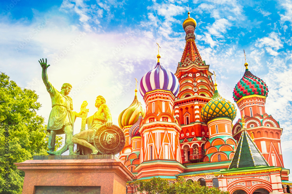Fototapety, obrazy: St. Basil's cathedral on Red Square in Moscow, Russia