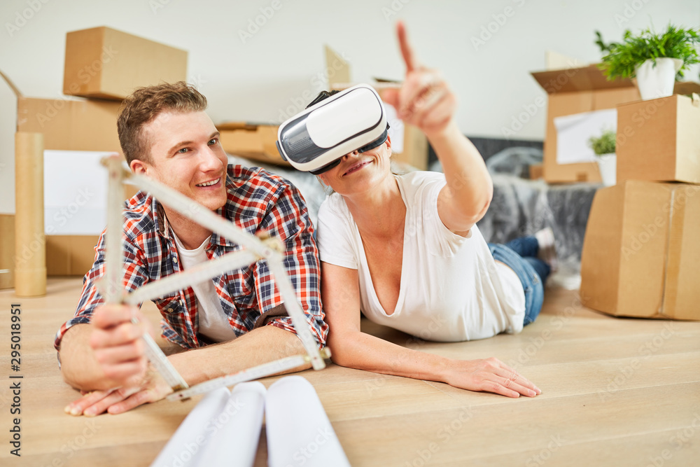 Fototapety, obrazy: Junges Paar mit Virtual Reality Brille