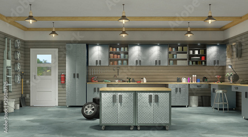 Modern garage interior. 3d illustration Wallpaper Mural