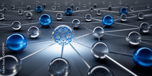 Fotomural  Sphere network structure - abstract design connection design - 3D illustration