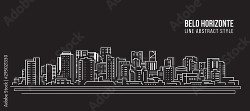 Fotografía  Cityscape Building panorama Line art Vector Illustration design - Belo horizonte