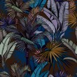 Seamless pattern with colorful tropical leaves on dark blue background. Hand drawn vector illustration.