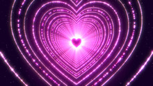 Abstract Digital Geometric Background With Futuristic Tunnel Glowing Neon Light Heart Shape.