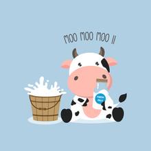 Little Cow With Milk Bucket And Milks.