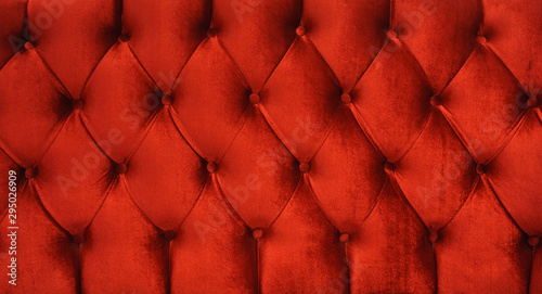 obraz PCV red velvet texture close up red chesterfield sofa pattern velvet as background