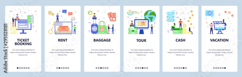 Tour agency website and mobile app onboarding screens vector template Wallpaper Mural