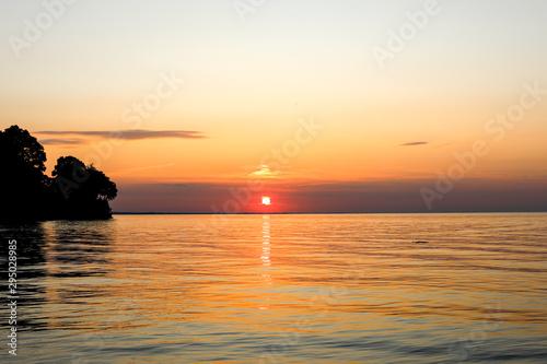 Beautiful summer sunset on Lake Ontario. Webster, NY