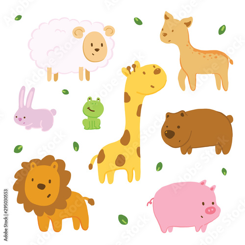 Vector illustration animal doodle with pastel color.. Seamless pattern #295030553