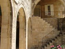 Narrow Cobbled Ancient Streets In Traditional Town Deir El Qamar, Lebanon