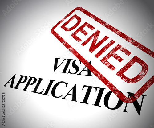 Visa application denied means passport stamp refused - 3d illustration Wallpaper Mural