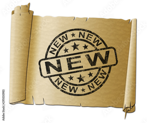 New and improved concept icon means fresh content or brand new products - 3d ill Canvas Print