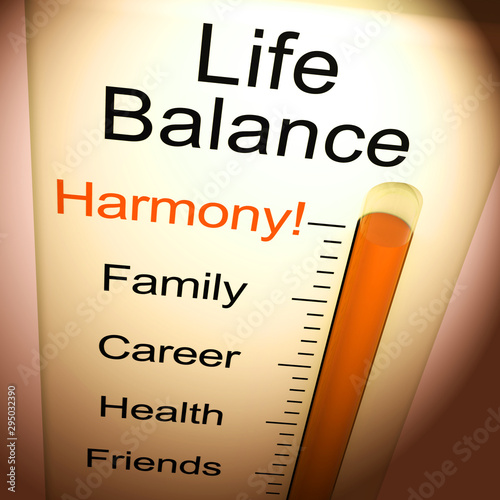 Fotografie, Tablou Life Balance harmony means equality between career family and friends - 3d illus