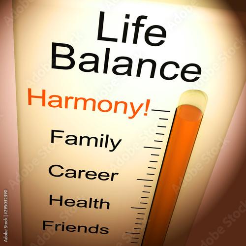 Fényképezés Life Balance harmony means equality between career family and friends - 3d illus