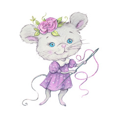 Watercolor Cute cartoon mouse with a needle and thread for sewing. Vector illustration