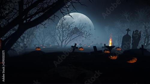 3D illustration Background for advertising and wallpaper in scary and halloween party scene. 3D rendering in decorative concept.