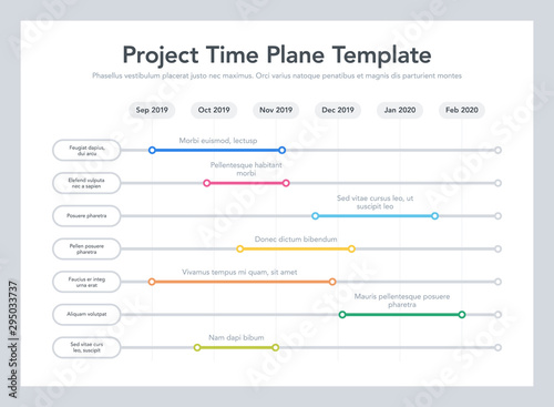 Fotografía Business project time plan template with project tasks in time intervals