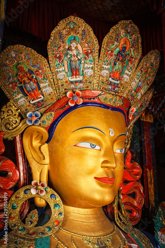 Fotografie, Obraz Maitreya Buddha in Thiksey Gompa, Ladakh
