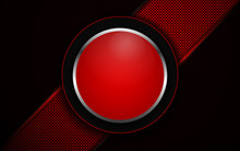 Abstract Red Circle Glossy Light Metal Shapes On Dark Background Texture. Technology Vector Style Design For Use Modern Cover, Banner, Card, Brochure, Advertising, Corporate, Frame, Presentation