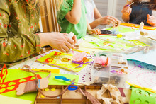 Children's Art Project, Craft For Children. Kids Doing Greeting Card At Creative Workshop With Teacher
