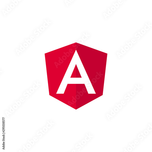 Angular programming language, Angular emblem white letter on red background Canvas Print