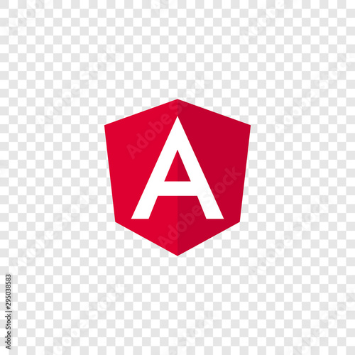 Photo Angular programming language, Angular emblem white letter on red background