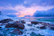 Leinwandbild Motiv Norwegian Sea waves on rocky coast of Lofoten islands, Norway