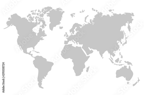 Fototapeta Grey World Map. The Five continents. Vector Illustration.