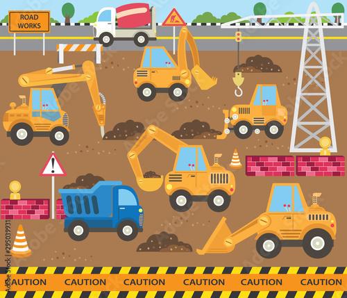 Foto op Aluminium Cartoon cars Cute Construction Transportation Theme Set