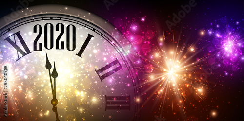 2020 new year background with clock and fireworks.