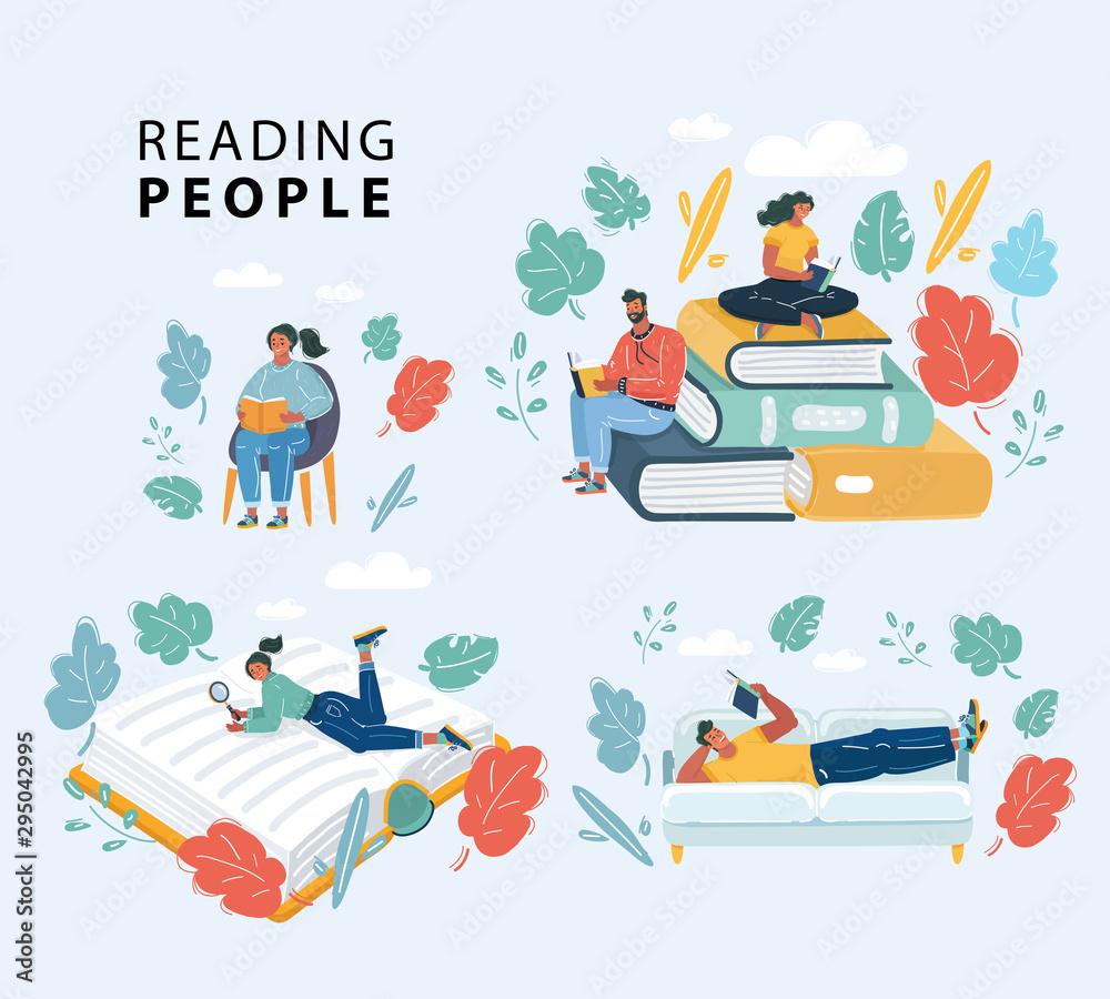 Fototapeta People reading books