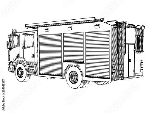 Wallpaper Mural sketch of a fire truck with hatching vector