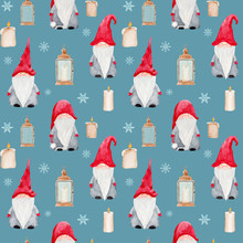 Watercolor Christmas Seamless Pattern With Scandinavian Gnomes,lanterns, Candles And Snowflakes Isolated On Blue Background. Festive Endless Tile For Wrapping Paper, Textile And Prints.